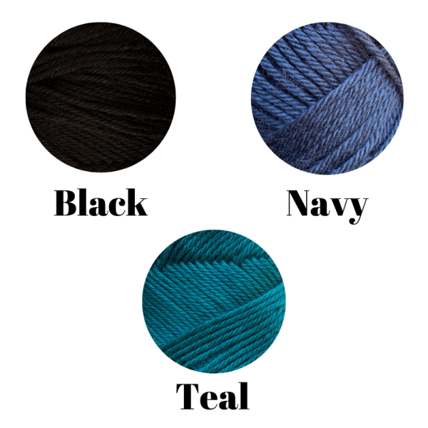 A graphic depicting the available colors for a preorder hat in teal, navy and black