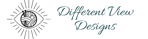 Different View Designs header logo with biz name and eye logo with yarn ball as pupil