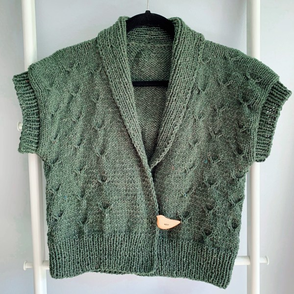A green short sleeve knitted cardigan hands on a hangers in front of a grey wall.