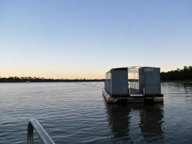 There are some interesting toilets in Australia - this one is a floating pontoon - and it's been made crocodile proof.