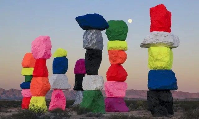 Seven Magic Mountains is an art installation just south of Las Vegas. It's in place until May 2018