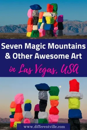 Seven Magic Mountains just outside Las Vegas are one of the top things to do in Las Vegas, but they aren't the only cool art in and around Las Vegas. Check out our guide. #sevenmagicmountains #lasvegas #thingstodoinlasvegas