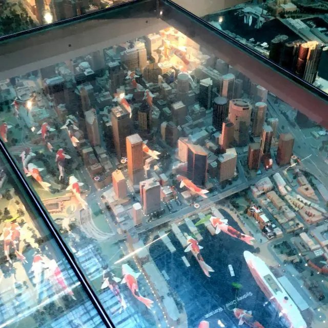 This model in Sydney's Customs House is a typographic model of Sydney from above. It's one of our fun things to do near Circular Quay