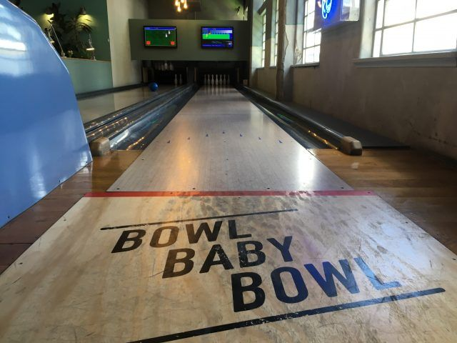 Dr Rudi's rooftop Brewing Company gets on our list of unusual things to do in Auckland as it has it's own bowling rink in the bar - and it's free.