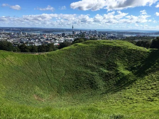 Standing on the edge of a volcanic crater is one of the fun things to do in Auckland.