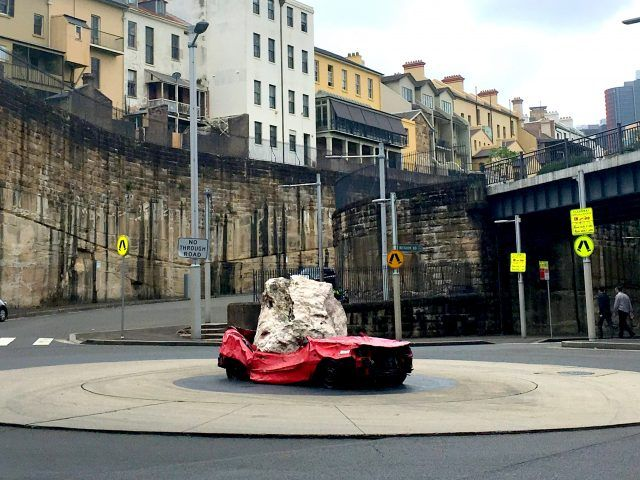 There's a crushed car in the middle of Sydney, all in the name of art. Finding Still Life With Stone and Car is one of the fun things to do in The Rocks