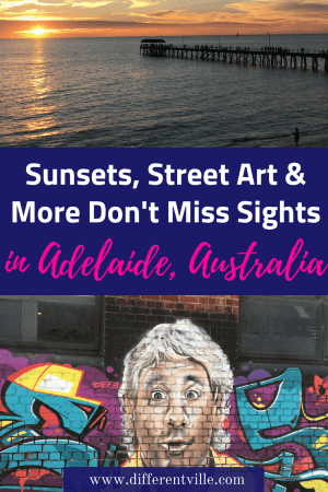 Adelaide in South Australia is known as the city of churches - but there's far more fun things to do see there than that. We found amazing street art, dolphins and beautiful sunsets - check out this guide to 17 quirky things not to miss in Adelaide. #adelaide #thingstodoinadelaide #southaustralia
