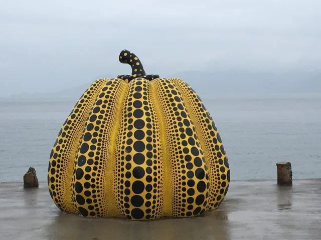 the yellow Naoshima Pumpkin is the main symbol of Naoshima Art Island. Here's how to see it and everything else on Naoshima Island in one day.
