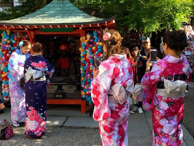 Yasaka Koshindo temple in Kyoto is full of tiny bright coloured balls.