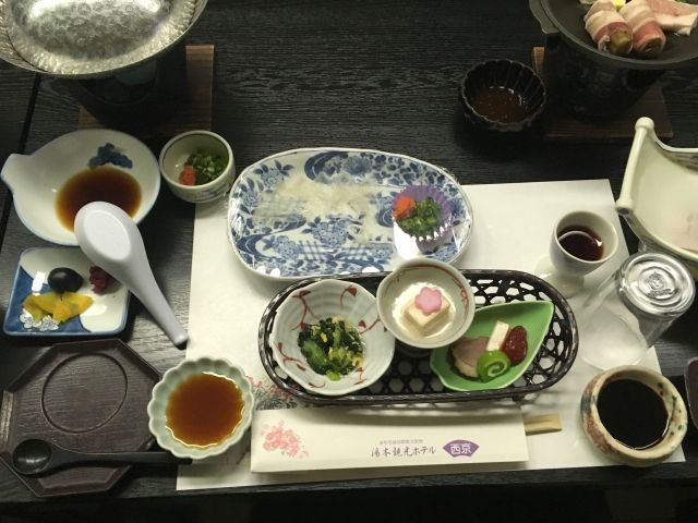 Kaiseki dinner served at our hot springs hotel in Japan