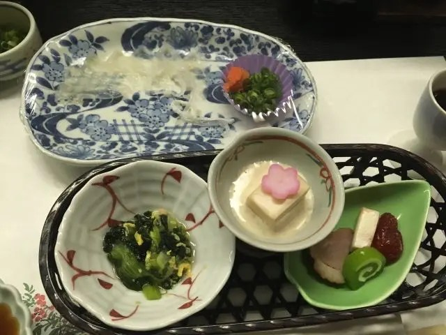 Fugu aka pufferfish as part of our meal at a hot springs hotel in Yumoto Japan