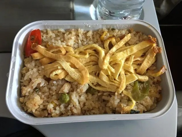 Special Fried Rice meal on the Air Asia X Quiet Zone from Kuala Lumpur to Taipei
