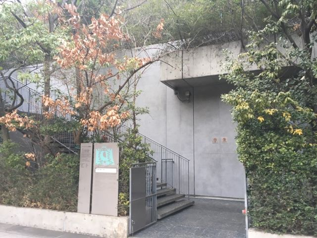 Entrance to the Acros Building Fukuoka. It's a small wire gate leading to a set of stairs by a gray wall. The entrance is shrouded by trees.