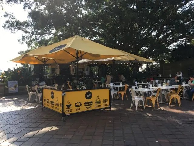 Small cafe with a yellow awning in Sydney