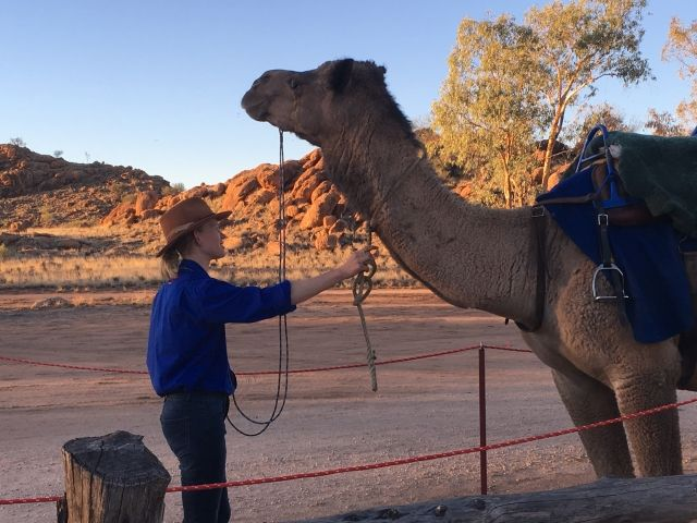 Camel and her trainer