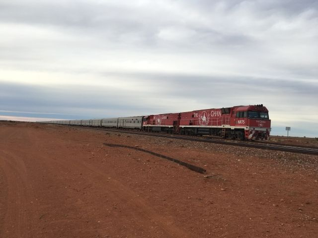 The Ghan stretching into the distance