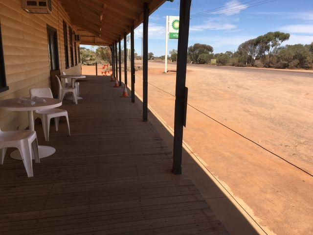 View from the verandah at the Glendambo Roadhouse - red earth and more red earth