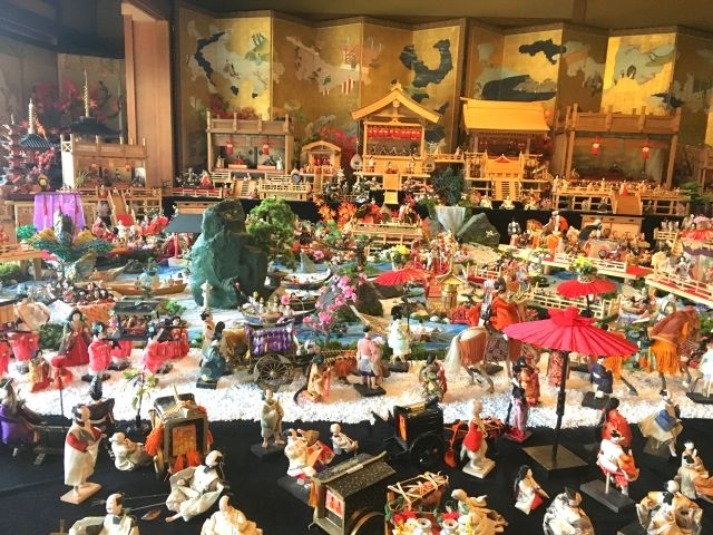 Hundreds of dolls on display in a town scene for the Doll Festival, Japan