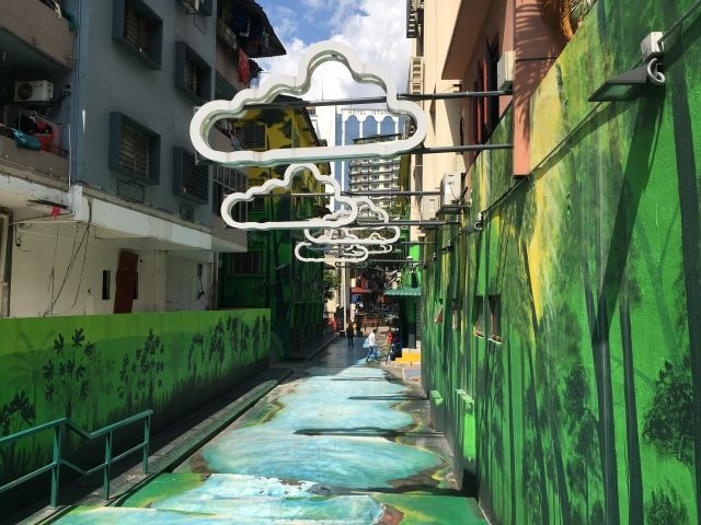 Alley painted like a river in Kuala Lumpur