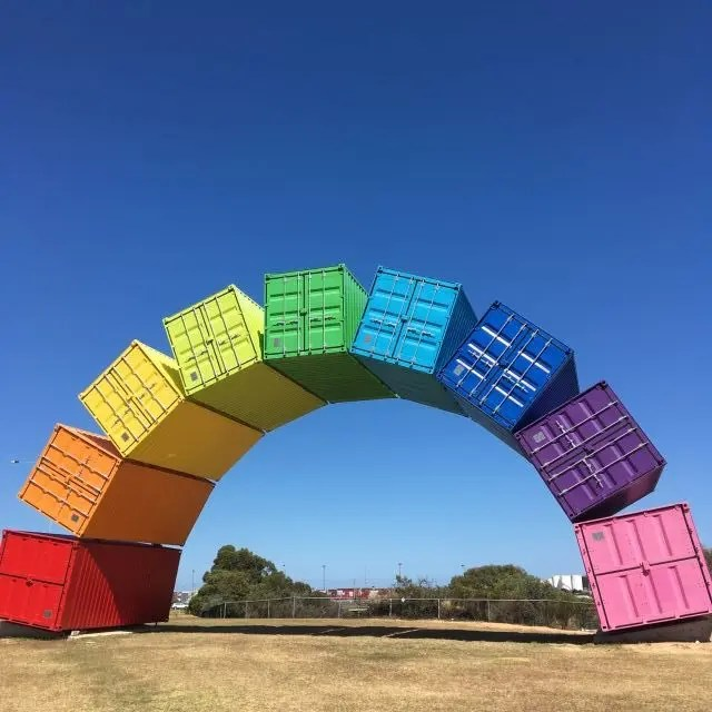 Rainbow artwork made of shipping container. One of the fun things to do in Perth