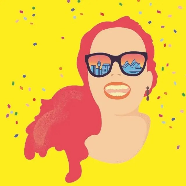 Drawing of girl with red hair and Sydney Opera House reflected in her glasses for Muriel's Wedding, The Musical
