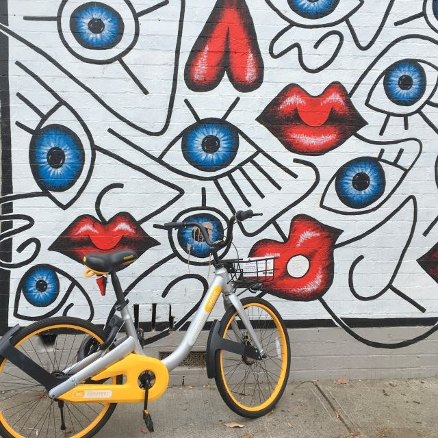 Bike share bike outside street art in Sydney, Australia