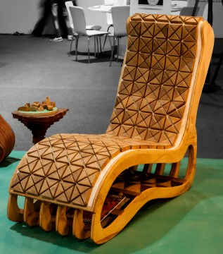 Wood upholestry chaise front