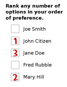 Sample instant run-off ballot. You get to rank your votes, and you don't have to vote for everyone.
