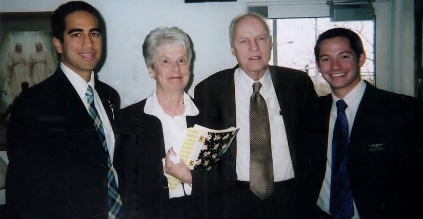 Left to right: Elder Velasco (an eventual groomsman), Ann Madsen, Truman Madsen, Me