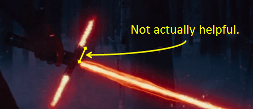 2014-11-28 Useless Lightsaber Crossguard - ZOOMED