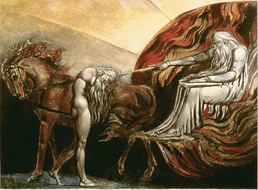 William Blake's color printing of God Judging Adam original composed in 1795. (Public Domain) This is *not* a view of the Fall as fortunate.