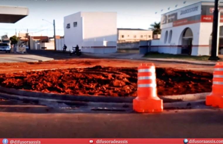 Rotatória na Avenida Dom Antônio no cruzamento com a Rua Luís Carlos da Silveira é implantada
