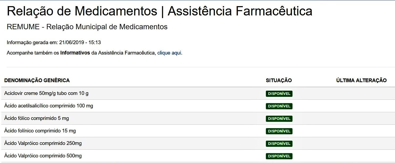 Saúde inicia divulgação online do estoque dos medicamentos que integram a Unidade Dispensadora do SUS