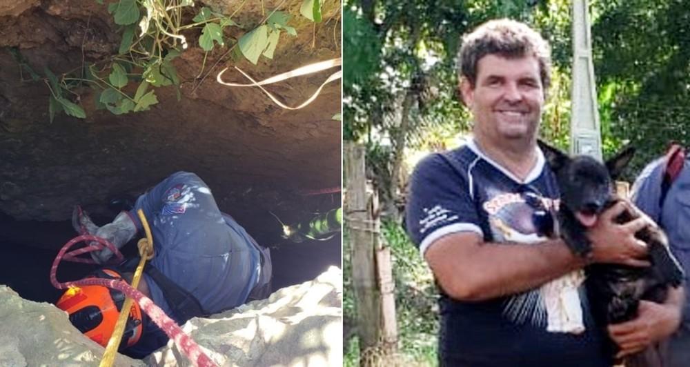 Bombeiros resgatam cachorra que caiu em fenda de 8 metros de profundidade em Marília