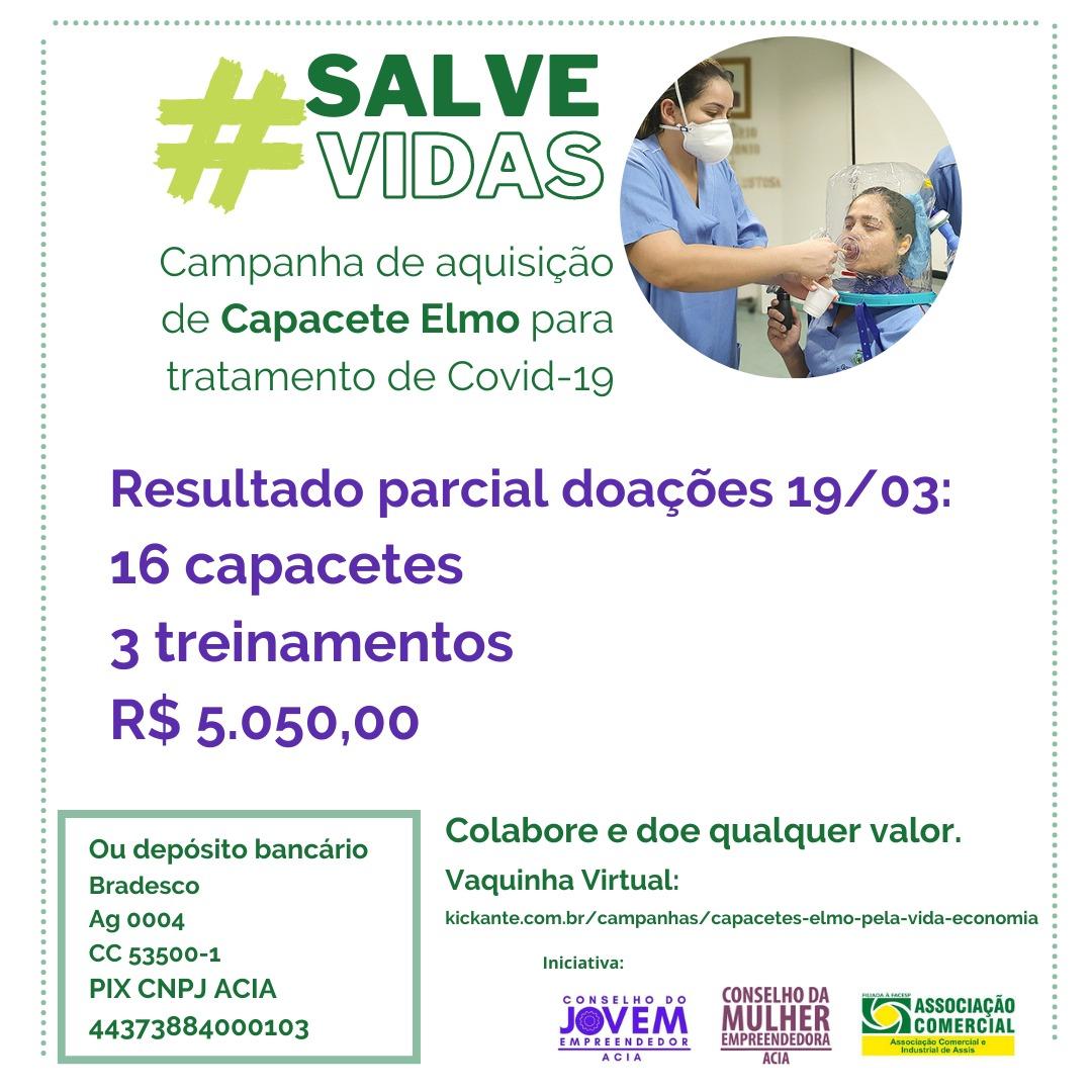 Campanha dos Conselhos ACIA já conseguiu a doação de 16 capacetes que podem evitar intubação de pacientes com Covid-19