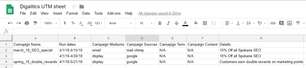 google sheet for UTM tags