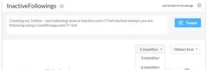 """Im Bereich """"InactiveFollowers"""" wird der Besen zum Großreinemachen geschwungen: hier entferne ich Dutzende Accounts, die teilweise seit 7 Jahren (!) nicht mehr aktualisiert wurden."""