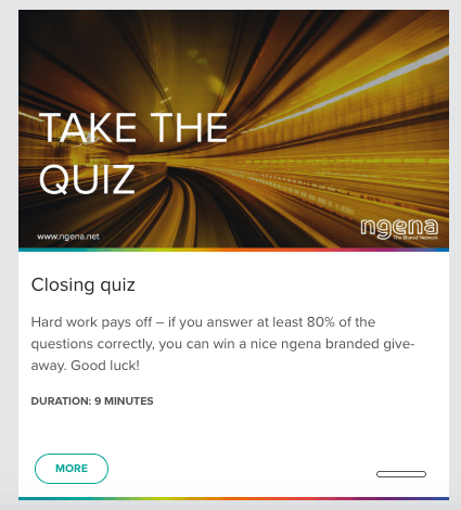 Screenshot of the ngena WBT Quiz.