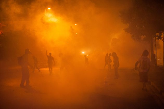 Teargas action during Gezi park protests. Events of June 15, 2013