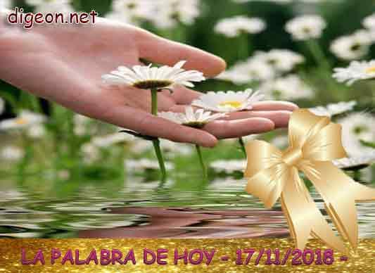 LA PALABRA DE HOY - DIGEON- 17/11/2018 - EL EVANGELIO DE HOY 17/11/2018 :Si levantara el vuelo hacia el sol naciente, o si habitara en los confines del mar, aun allí tu mano me sostendría; ¡tu mano derecha no me soltaría! (Salmo 139:9-10)