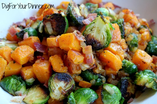Brussels Sprouts with Butternut Squash and Bacon