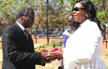 Peoples Party leader Mike Mulongoti with Maureen Mwanawasa in Lusaka-Picture by Tenson Mkhala