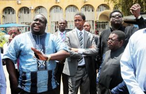 President Edgar Lungu watches as Chishimba Kambwili speaks to journalsit in Lusaka-Picture by Tenson Mkhala