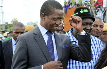 President Edgar Lungu with PF Youth chairperson Kennedy Kamba at KKIA in Lusaka-Picture by Tenson Mkhala