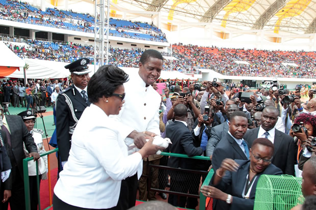 President Edgar Lungu and wife Esther during the signing of the Amended Constitution at Heroes Stadium in Lusaka-picture by Tenson Mkhala