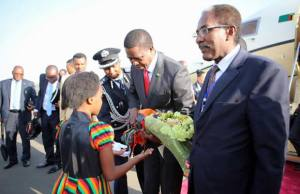 President Lungu on arrival in Addis Ababa,Ethiopia for AU Summit on Friday,January 27,2017 -Picture by State House