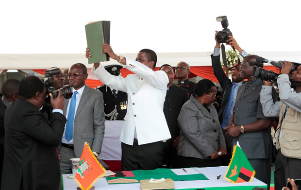 President Edgar Lungu during the signing of the Amended Constitution at Heroes Stadium in Lusaka