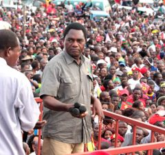 UPND Leader Hakainde Hichilema during 2016 rally in Lusaka's Mandevu Township-Picture by Tenson Mkhala