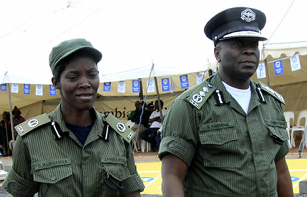 Inspector general of Police Kanganja Kakoma with Charity Munganga in Chipata-Picture by Tenson Mkhala