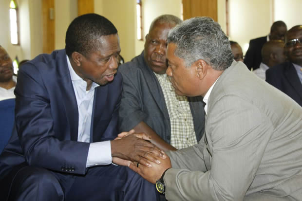 President Edgar Lungu with Justice Minister Given Lubinda in Lusaka-Picture by Tenson Mkhala